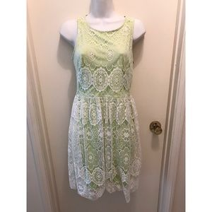 BETSEY JOHNSON Lace Overlay Green dress 4